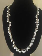 NEW LOFT GOLD TONE PEARL BEADED LONG NECKLACE