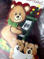 "Ragtime Teddies 15"" Christmas Stocking Kit, Applique Felt Sequins 33049"