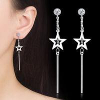 925 Sterling Silver Star Dangle Zircon Stud Earrings Women Fashion Jewelry