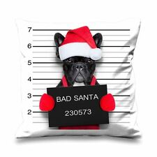 French Bulldog Bad Santa Faux Silk 45cm x 45cm Sofa Cushion - Funny Christmas