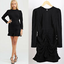 River Island NEW Textured Long Sleeve Ruched Mini Dress in Black