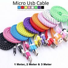 Strong Braided Flat Micro USB Cable Lead Charger for Samsung Galaxy S3 S6 S7 HTC