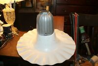 "Antique Service Station Farm Industrial Light Fixture Crimped Shade 20"" x 11"""