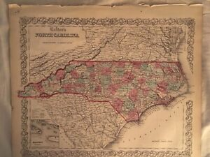J.H Colton's 1855 Map of North Carolina