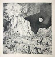 1919 Anachoret anchorite Wüste desert Radierung Oskar Laske Faust Impressionen