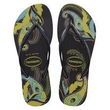 Havaianas Slim Women Organic Black/Grey Blue/Silver Rubber Flip Flops All Sizes
