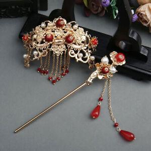 2PC Chinese Long Hair Stick Headdress Women's Accessories Hair Pins Jewelry  I-