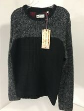 BRAVE SOUL MEN'S COLOUR BLOCKED MIXED YARN JUMPER BLACK/BLK MARL LARGE NWT