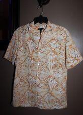 Van Heusen Mens M Orange/Yellow Floral Bold Print Button Down Shirt Short Sleeve