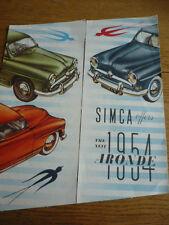 SIMCA ARONDE 1954 CAR SALES BROCHURE ENGLISH LANGUAGE