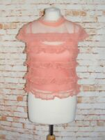 River Island sheer lace blouse/top size 10 cap sleeve ruffles cami salmon pink