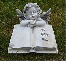 Grabdeko Engel mit Buch Antik-grau