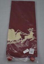 POTTERY BARN SLEIGH BELL CREWEL EMBROIDERED KITCHEN TOWEL CHRISTMAS HOLIDAY #59