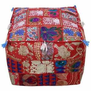 Indian red square ottoman pouf floor cushion Cover Patchwork Vintage home Decor