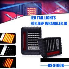 Pair LED Tail Lights Turn Signal & Back Up For Jeep Wrangler JK JKU 2007 - 2017
