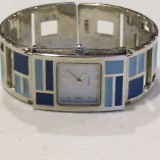 Avon Cuff Watch Quartz RETIRED Bracelet Dark Light Blue Silver Mosaic Enamel