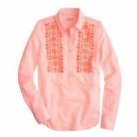 J.Crew Womens Popover Top Embroidered Neon Pink Stripe Shirt Size 6