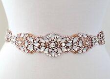 """Wedding Sash Belt - Rose Gold Opal Crystal Pearl BELT = 15 3/4"""" long"""