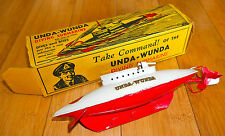 VINTAGE SUTCLIFFE UNDA-WUNDA DIVING SUBMARINE RARE TINPLATE TOY 1940's BOXED
