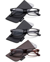 3 Pack Slim Reading Glasses Rectangular Frame with Spring Hinges Classic Style