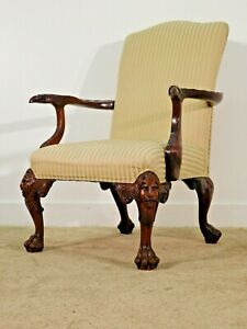 BAKER STATELY HOMES Lion's Head Eagle Carved Mahogany Upholstered Arm Chair