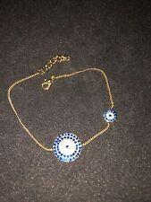 Gold Plated Evil Eye Chain Bracelet W Swarovski Elements Adjustable Luck