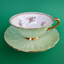 Shelley Oleander Tea Cup Saucer Bridal Rose 13535 Wide Green England Vtg