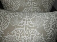 Throw pillows textured fabric woven mythological lions Brown Ivory new PAIR