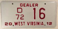 LOW NUMBER 16 DEALER license plate Car Dealership Ford Chevy GM Mopar 2 digit 72