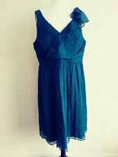 NWT J Crew 20 green Dress 100% Silk Ruffle Neckline Sleeveless formal bridesmaid
