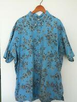 Reyn Spooner Pullover Hawaiian Shirt Mens 3XL Blue Tan Khaki Floral Aloha Tiki
