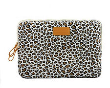 "Canvas Leopard Design 15"" 15.4"" 15.6"" Laptop Notebook Sleeve Bag Case"