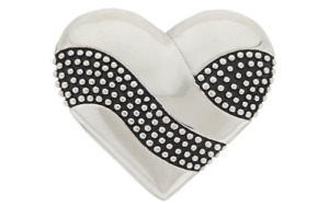 Stainless Steel Textured And Polished Heart Slide Fits Fitbit, Watch Band, Chain