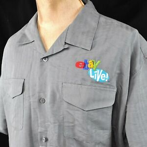 Ebay Live 2004 Perry Ellis XXL Camp Shirt 2XL Mens Embroidered Soft Rayon Stripe