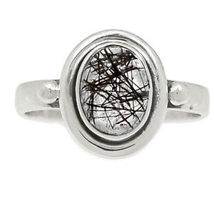 Black Tourmaline In Quartz, Shri Lanka 925 Silver Ring Jewelry s.6.5 BR83098