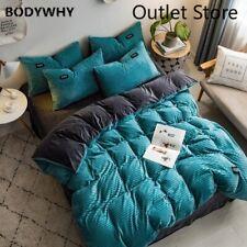 Velvet Fleece Bedding Set 4pcst Stripe Cover Sheet AB Side Flannel Bed Linen