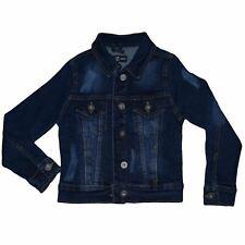 Kids Girls Denim Jacket Dark Blue Ripped Jeans Jackets Fashion Coat 3-13 Years