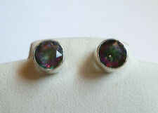 Sterling Silver Natural Mystic Topaz Round Stud Post Earrings
