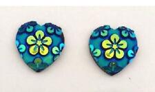 RESIN DARK BLUE FLOWER LOVE HEART STUD EARRINGS 12MM