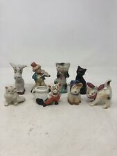 Lot Of 8 Vintage Mid Century Modern Ceramic Figurines Cats , Monkeys , Donkey