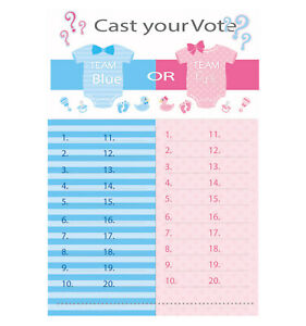 Gender Reveal Tally Board Boy Or Girl Vote Sheet Team Blue Pink Baby Shower Game