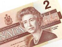 1986 Canada 2 Two Dollar EGT Uncirculated Canadian Elizabeth Banknote M242