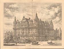 1891 ANTIQUE PRINT- ARCHITECTURE - LONDON - MAIDA VALE MANSIONS