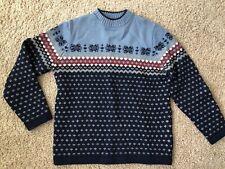 Lands End Boys Size M 10/12 Women S/M Wool Sweater Blue Burgundy Winter