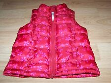 Girls Size Small Old Navy Red Pink Floral Flower Winter Puffer Vest Jacket EUC