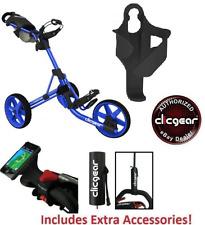 Best Value New Clicgear 3.5 Golf Push Cart + EXTRAS BLUE 3 Wheel Pull