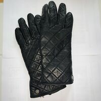 Michael Kors Womens Quilted Leather Black Gloves Size Small 7 Butter Soft Lined