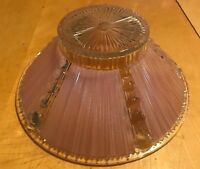 Vintage Mid Century Ceiling Light Shade  Pink And Clear Thick Glass 10.5 X 4