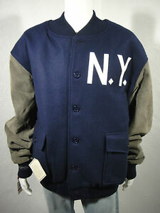 New Mitchell & Ness Cooperstown NY Yankees -1927 Wool/Leather Jacket Navy sz 4XL