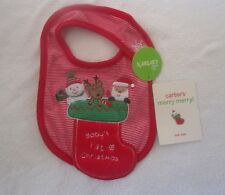CARTERS NEW Baby's First Christmas Santa Snowman Bib Size O/S Red White NWT
